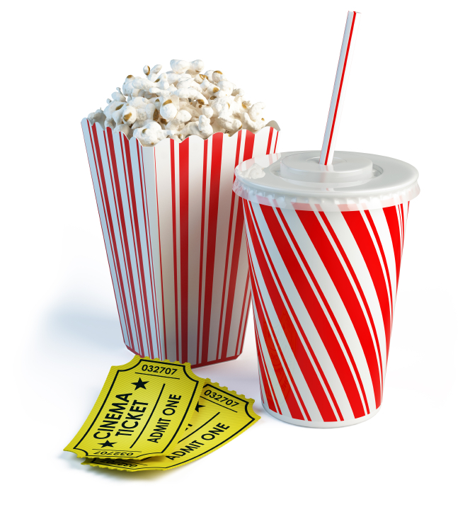 Popcorn, cola and cinema tickets